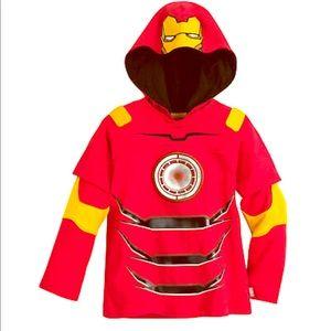 Disney Store Iron Man Costume Hoodie Shirt Sz 5/6